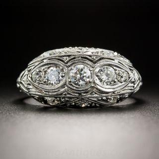 Art Deco Platinum Diamond Three-Stone Ring - 1