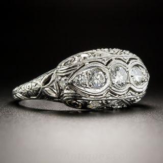 Art Deco Platinum Diamond Three-Stone Ring