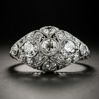 Art Deco Platinum Diamond Three-Stone Ring by Traube - 2
