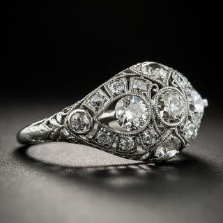Art Deco Platinum Diamond Three-Stone Ring by Traube