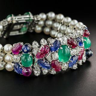 Art Deco Platinum Ruby Emerald Sapphire Tutti Fruiti Style Diamond and Pearl Bracelet - 2