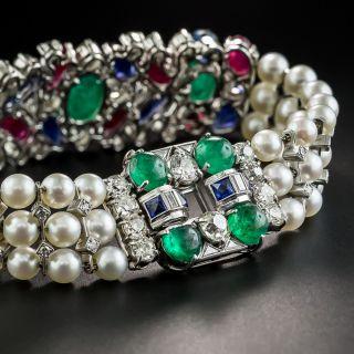 Art Deco Platinum Ruby Emerald Sapphire Tutti Fruiti Style Diamond and Pearl Bracelet