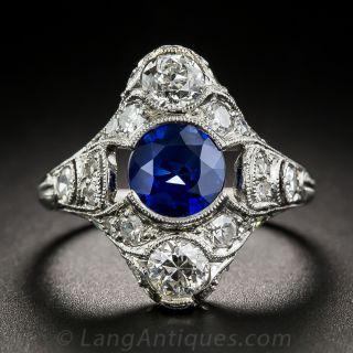 Art Deco Platinum Sapphire and Diamond Dinner Ring