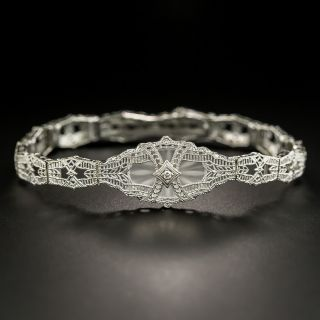 Art Deco Quartz and Diamond Filigree Bracelet  By Schiman