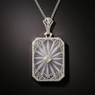 Art Deco Quartz Crystal and Diamond Pendant - 2