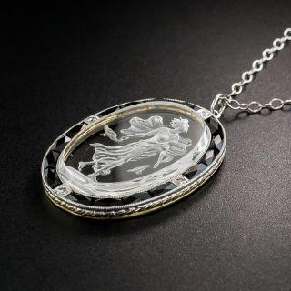 Art Deco Quartz Intaglio Pendant Necklace