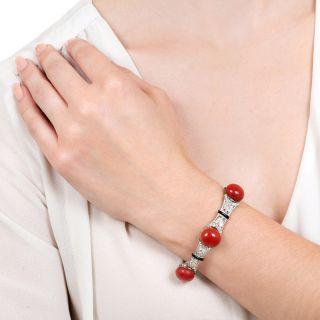 Art Deco Red Coral, Diamond and Black Enamel Bracelet