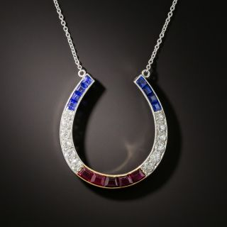 Art Deco Red, White & Blue Horse Shoe Pendant - 6