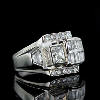 Art Deco/Retro Platinum Diamond Cocktail Ring