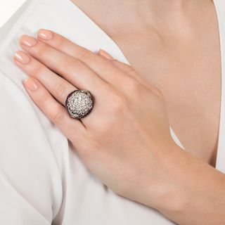 Art Deco/Retro Style Diamond and Ruby Cocktail Ring