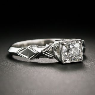 Art Deco Ring with Antique Cushion Cut Diamond