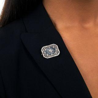 Art Deco Rock Crystal and Diamond Brooch
