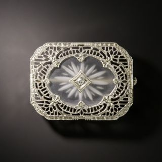 Art Deco Rock Crystal and Diamond Brooch - 3