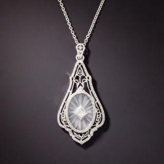 Art Deco Rock Crystal and Diamond Filigree Necklace - 1