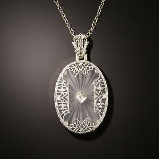 Art Deco Rock Crystal and Diamond Pendant - 2