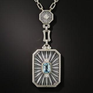 Art Deco Rock Crystal, Aquamarine and Diamond Necklace by Krementz - 2