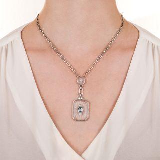 Art Deco Rock Crystal, Aquamarine and Diamond Necklace by Krementz