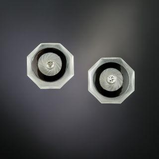 Art Deco Rock Crystal, Onyx, and Diamond Stud Earrings - 2