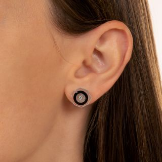 Art Deco Rock Crystal, Onyx, and Diamond Stud Earrings