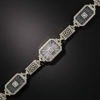 Art Deco Rock Crystal Quartz and Diamond Bracelet - 2