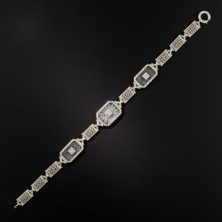 Art Deco Rock Crystal Quartz and Diamond Bracelet