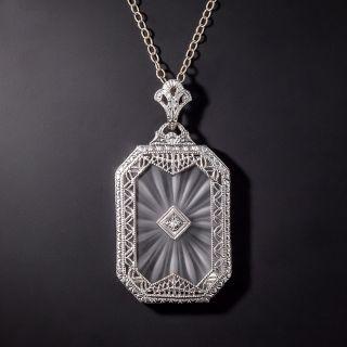 Art Deco Rock Crystal Quartz and Diamond Pendant Necklace - 1
