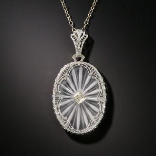 Art Deco Rock Crystal Quartz and Diamond Oval Pendant - 2