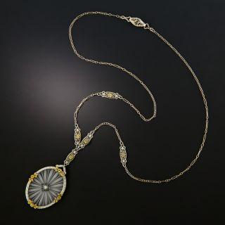 Art Deco Rock Crystal Quartz and Diamond Pendant