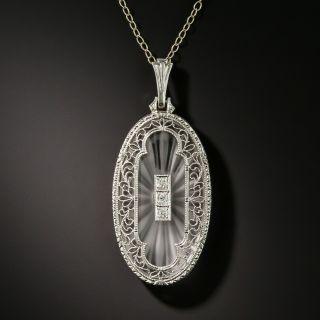 Art Deco Rock Crystal Quartz and Diamond Pendant by Krementz - 2