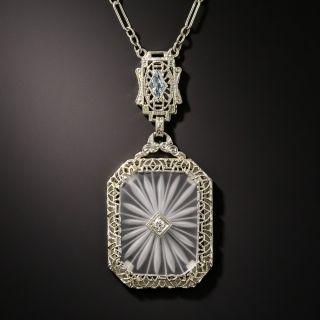Art Deco Rock Crystal Quartz, Diamond and Aquamarine Pendant - 2