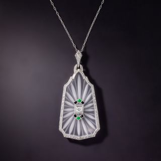 Art Deco Rock Crystal Quartz, Diamond and Onyx Lavalier by Krementz - 0