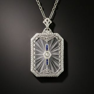 Art Deco Rock Crystal Quartz Diamond and Sapphire Pendant - 2