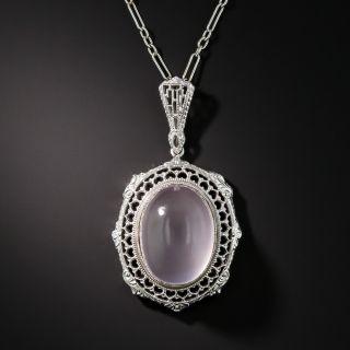 Art Deco Rose Quartz Necklace - 2