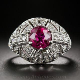 Art Deco Rubellite Tourmaline and Diamond Ring - 1