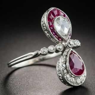 Art Deco Ruby and Diamond Toi et Moi Ring