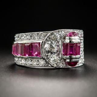 Art Deco Ruby Diamond Band Ring - 1