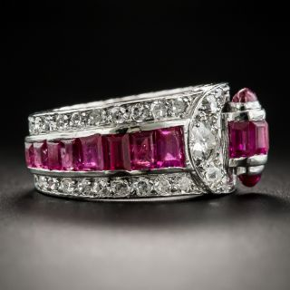 Art Deco Ruby Diamond Band Ring