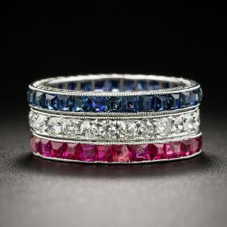 Art Deco Ruby, Sapphire and Diamond Eternity Band Set -  Size 3 - 2