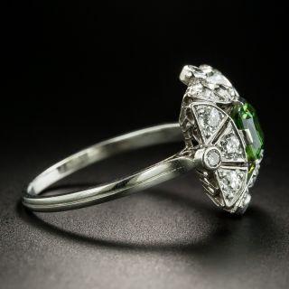 Art Deco Russian .84 Carat Demantoid Garnet and Diamond Ring