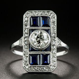 Art Deco Sapphire and .65 Carat Diamond Dinner Ring  - 2