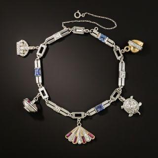 Art Deco Sapphire and Diamond Charm Bracelet - 2