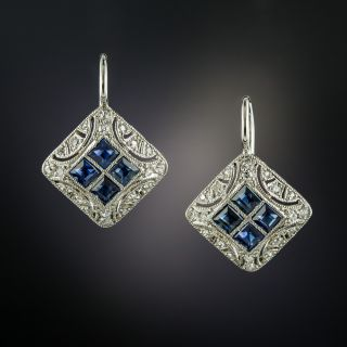 Art Deco Sapphire and Diamond Earrings - 3