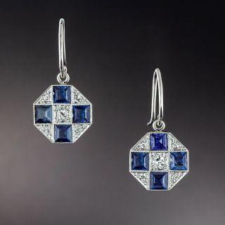 Art Deco Sapphire and Diamond Octagonal Earrings - 1