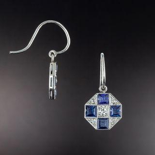 Art Deco Sapphire and Diamond Octagonal Earrings