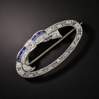 Art Deco Sapphire and Diamond Oval Wreath Brooch - 2