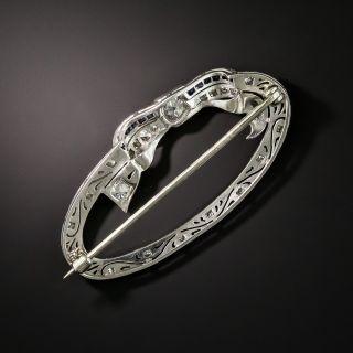 Art Deco Sapphire and Diamond Oval Wreath Brooch