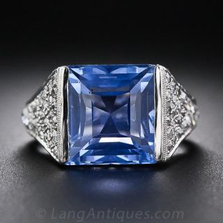 Art Deco Sapphire and Diamond Ring, Size 3 3/4 - 1