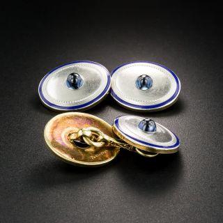 Art Deco Sapphire and Enamel Cufflinks by L.E. Garrigus