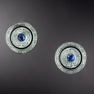 Art Deco Sapphire and Enamel Earrings - 1