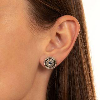 Art Deco Sapphire and Enamel Earrings